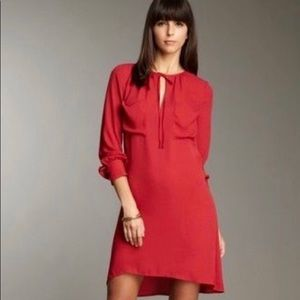 BCBG Darell Crepe Shift Dress in New Red